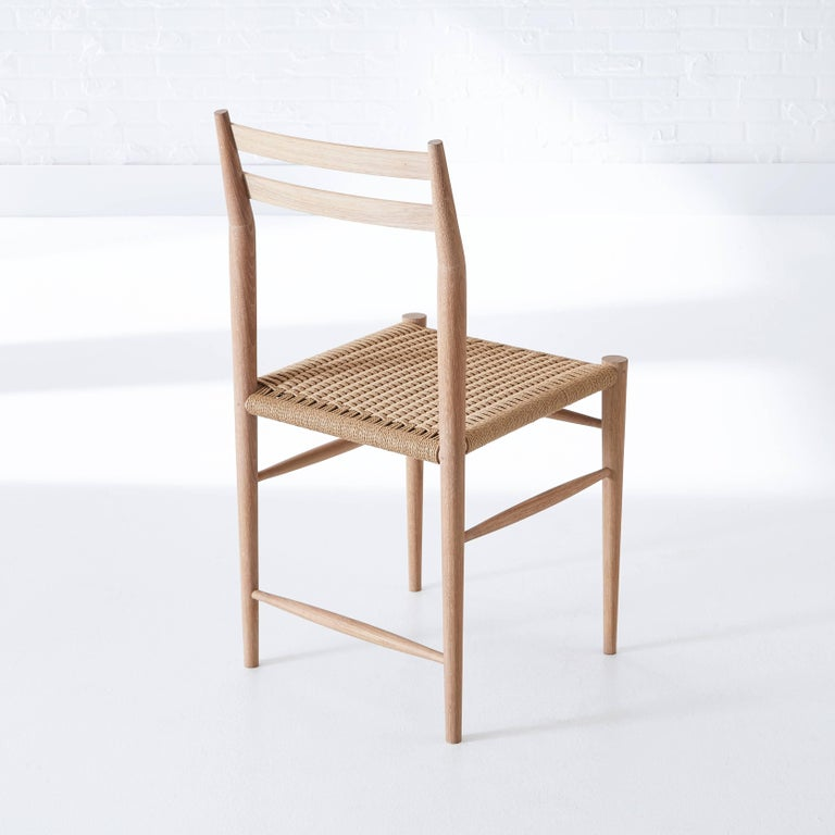 Handcrafted White Oak Wood Madison Chair with Handwoven Danish Cord Design For Sale 2