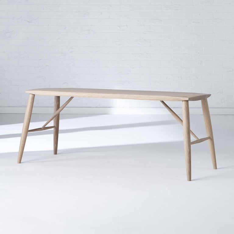 Hand-Crafted Contemporary Shaker Minimalist Adelaide Bench in White Oak For Sale