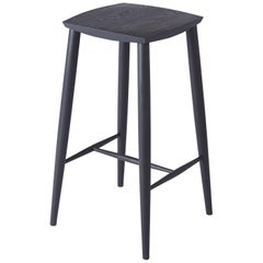 Contemporary Counter Height Stool Handcrafted in Solid Oak