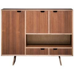 Bercil Sideboard, American Walnut Hand Veneered Sideboard by Lee Matthews