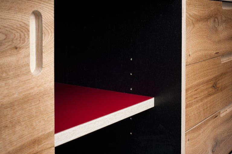Austrian MR Sideboard, Hand veneered plywood sideboard with sliding doors in old oak. For Sale