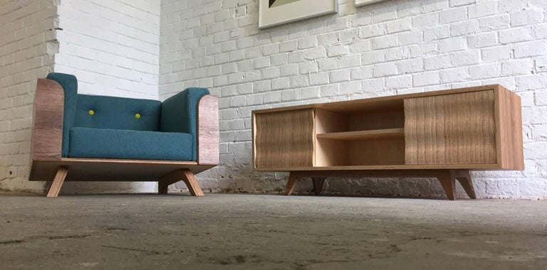 Plywood Big Biscuit Lounge Chair, Hand veneered plywood in old oak with grey cushions For Sale