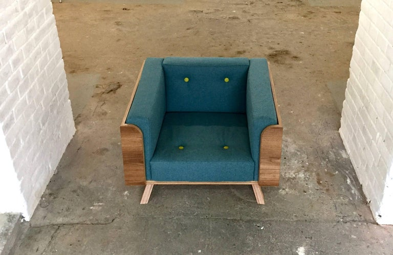 Big Biscuit Lounge Chair, Hand veneered plywood in old oak with grey cushions For Sale 1