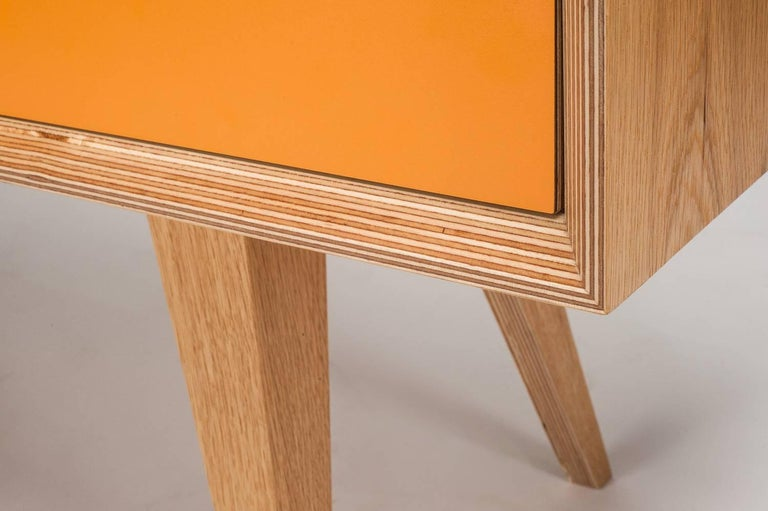 Mid-Century Modern Otto Sideboard,hand veneered plywood in European oak/orange and green. For Sale