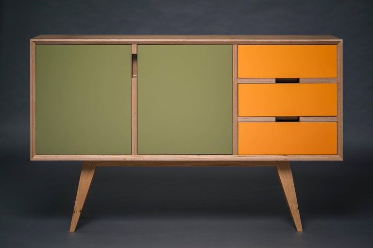 Hand-Crafted Otto Sideboard,hand veneered plywood in European oak/orange and green. For Sale