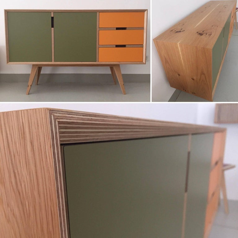 Otto Sideboard,hand veneered plywood in European oak/orange and green. In New Condition For Sale In Vienna, AT