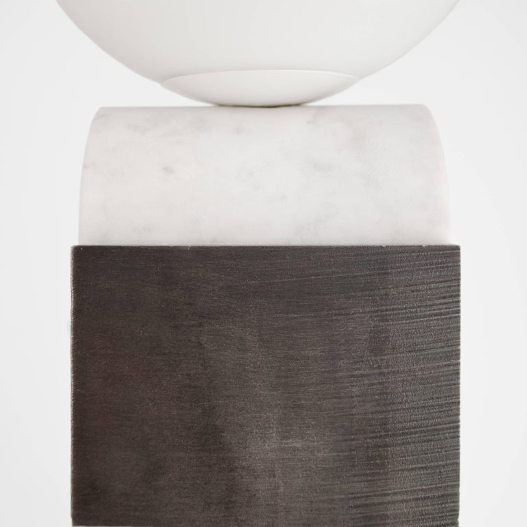 Contemporary Monument Lamp Circle in Carrara Marble, Solid Steel and Glass In Excellent Condition For Sale In London, GB