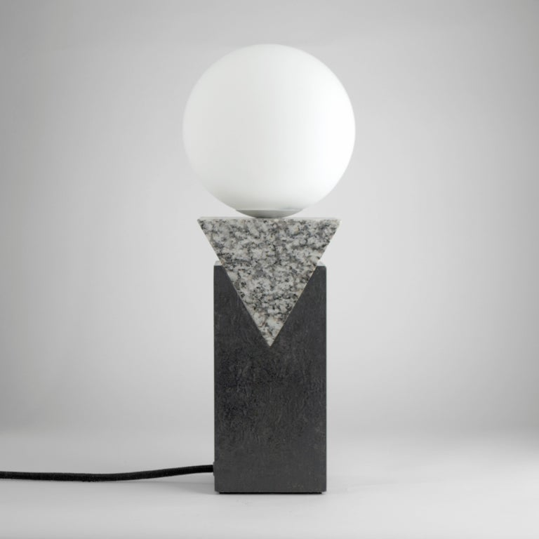 Modern Contemporary Monument Lamp Triangle in Granite, Solid Steel and Glass For Sale