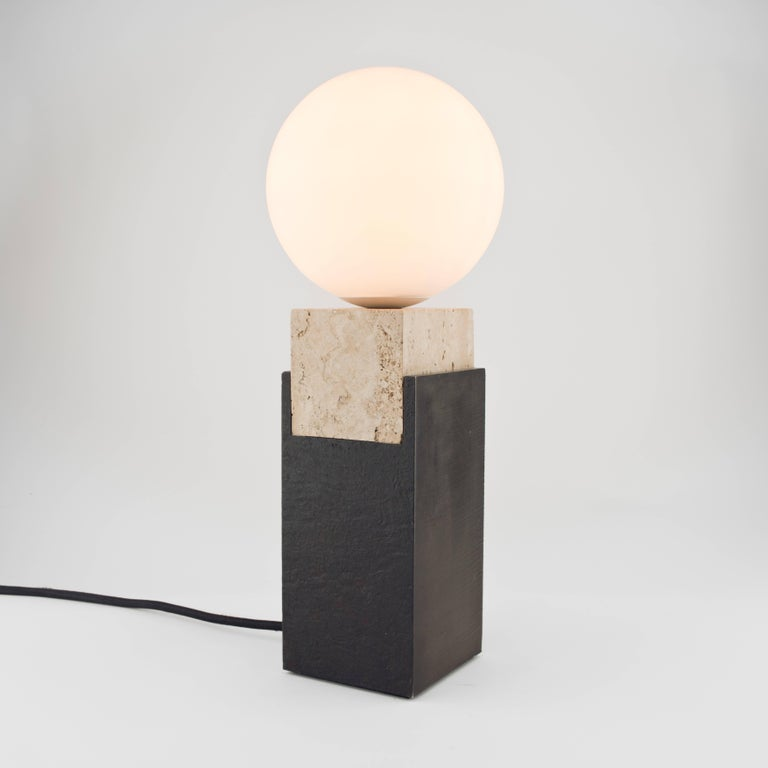 English Contemporary Monument Lamp Square in Travertine, Solid Steel and Glass For Sale