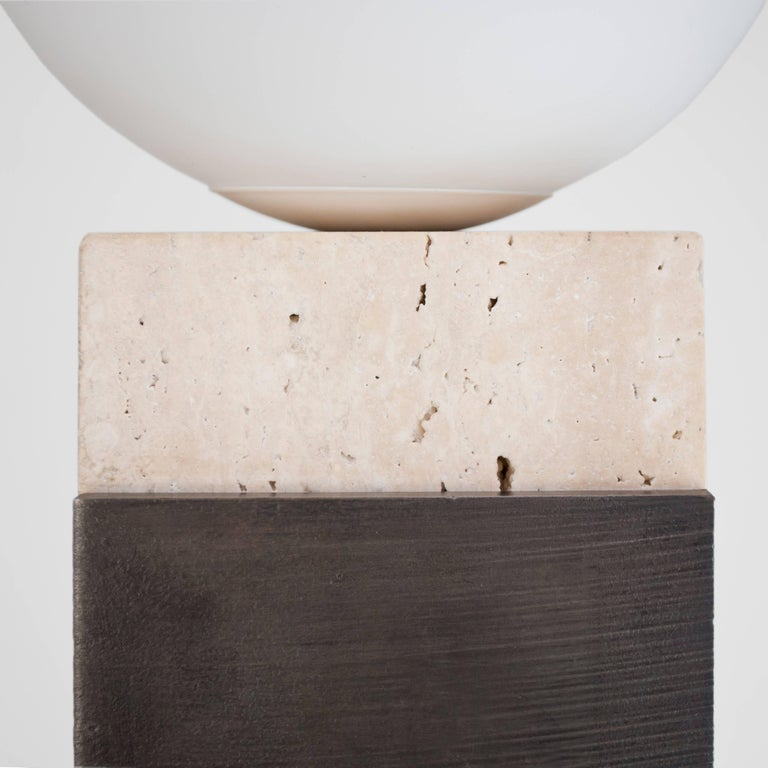 Contemporary Monument Lamp Square in Travertine, Solid Steel and Glass In New Condition For Sale In London, GB