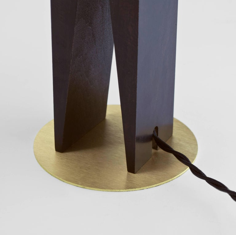 Brushed Contemporary V Lamp Hardwood, Solid Glass and Brass For Sale