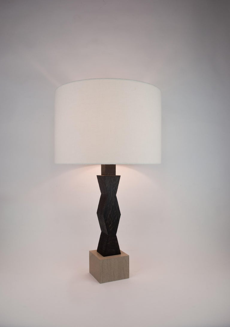 Mid-Century Modern Contemporary Ridge Lamp with Geometric Oak Base and Linen Shade For Sale