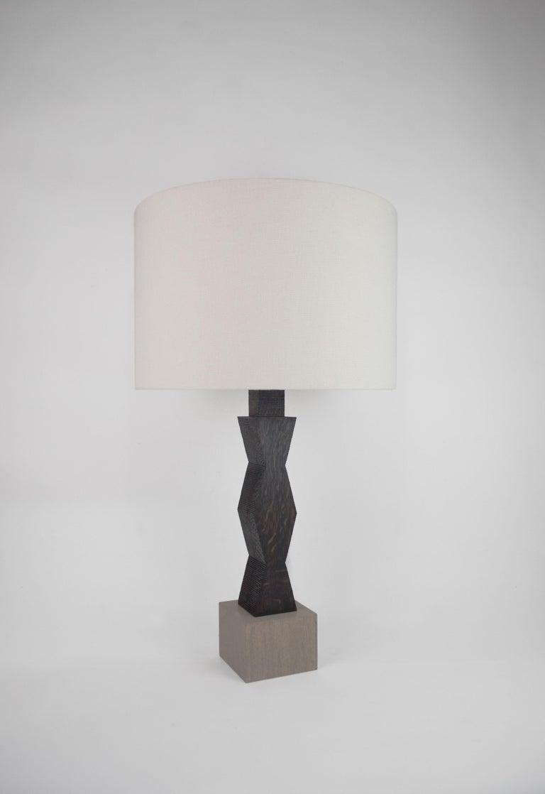 Ebonized Contemporary Ridge Lamp with Geometric Oak Base and Linen Shade For Sale