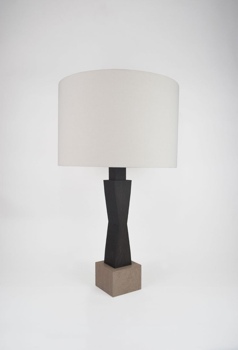 Woven Contemporary Ridge Lamp with Geometric Oak Base and linen Shade For Sale