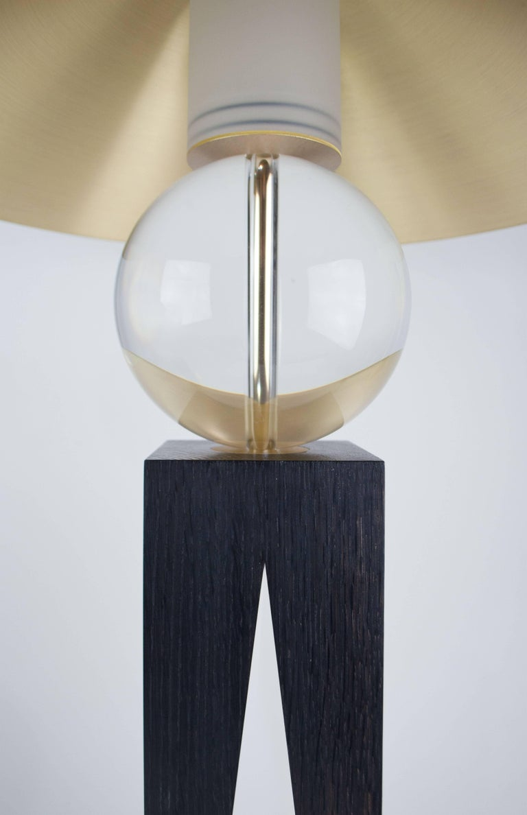 Brushed Contemporary V Lamp Extra Large, Geometric Oak Base, Glass Sphere and Brass For Sale