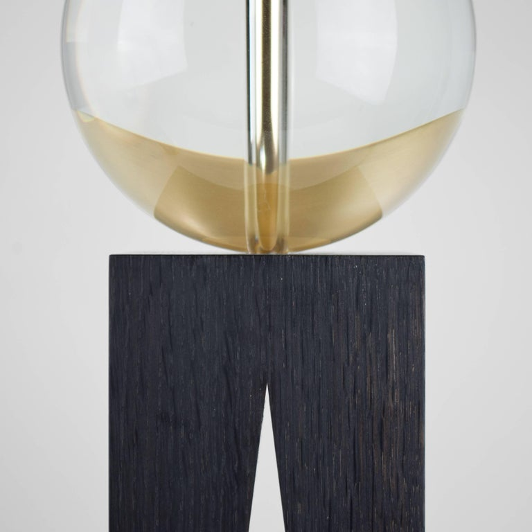 Contemporary V Lamp Extra Large, Geometric Oak Base, Glass Sphere and Brass In New Condition For Sale In London, GB