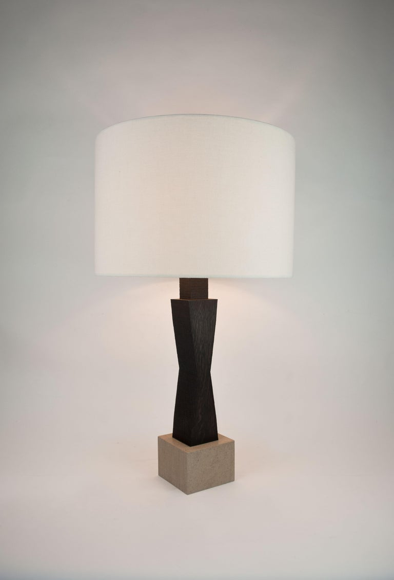 Contemporary Ridge Lamp with Geometric Oak Base and Linen Shade For Sale 2