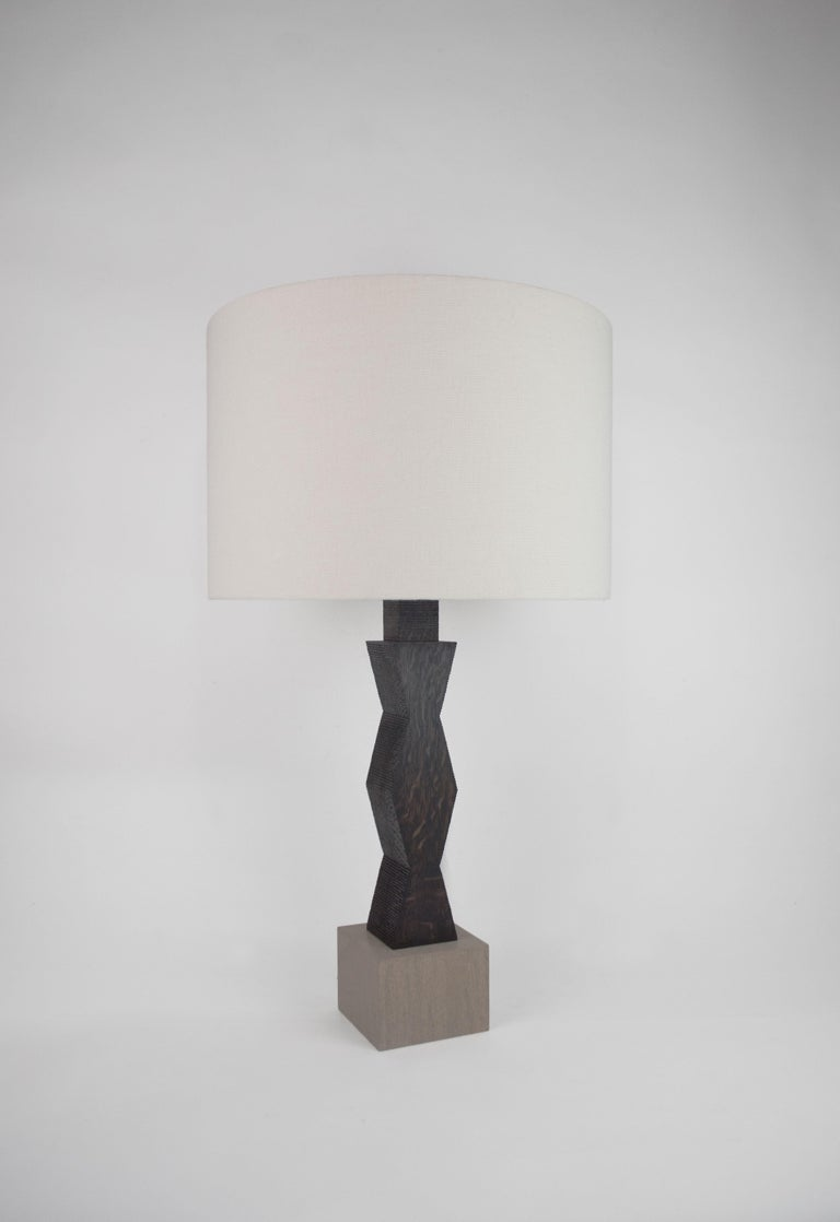 Ebonized Contemporary Ridge Lamp with Geometric Oak Base and Linen Shade For Sale
