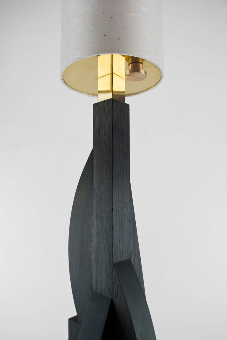 Brass Contemporary Tower Floor Lamp with Geometric Oak Base and Japanese Paper Shade For Sale