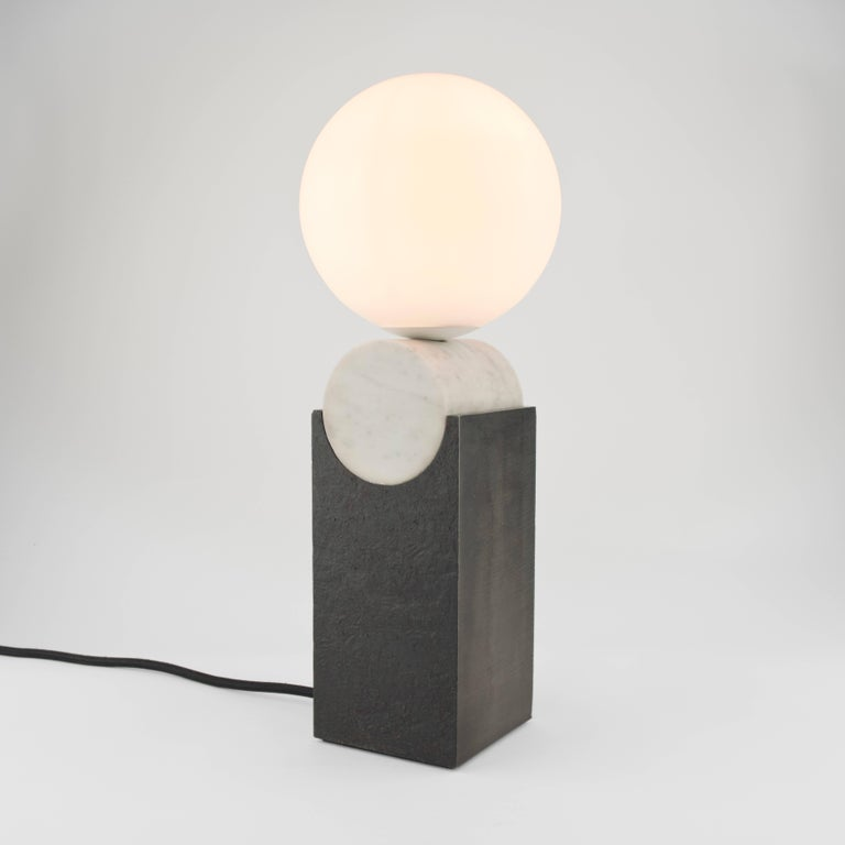 English Contemporary Monument Lamp Circle in Carrara Marble, Solid Steel and Glass For Sale