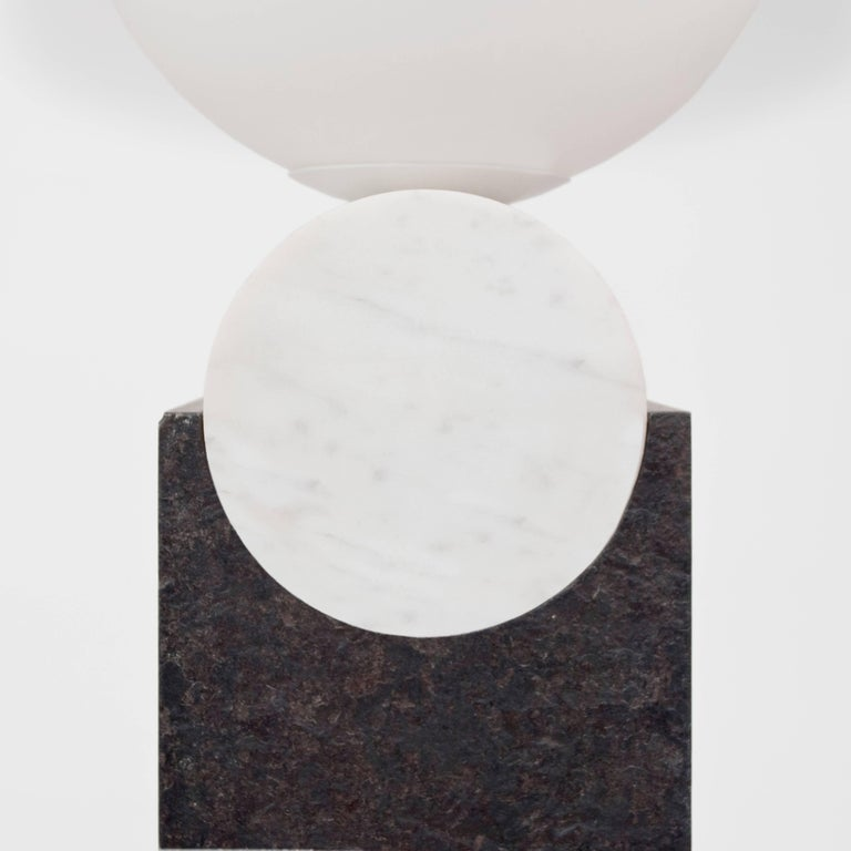 Frosted Contemporary Monument Lamp Circle in Carrara Marble, Solid Steel and Glass For Sale