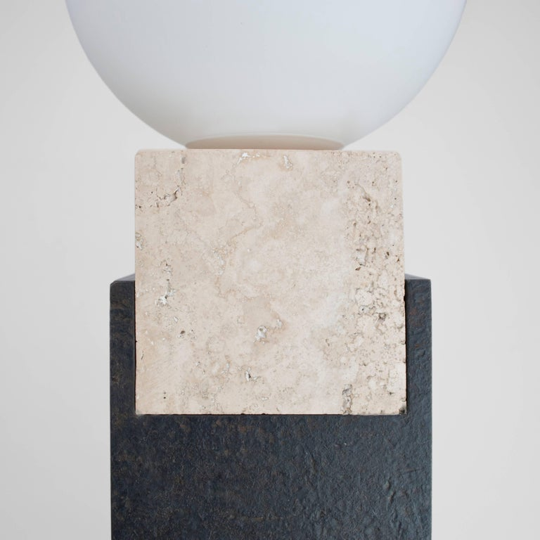 Frosted Contemporary Monument Lamp Square in Travertine, Solid Steel and Glass For Sale