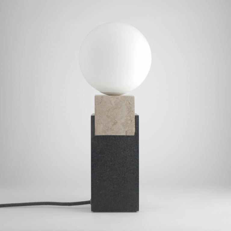 Modern Contemporary Monument Lamp Square in Travertine, Solid Steel and Glass For Sale
