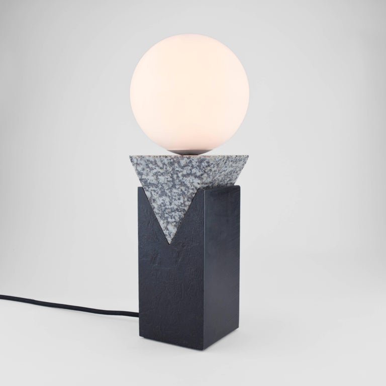 English Contemporary Monument Lamp Triangle in Granite, Solid Steel and Glass For Sale
