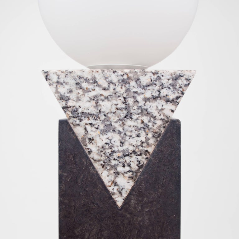 Patinated Contemporary Monument Lamp Triangle in Granite, Solid Steel and Glass For Sale