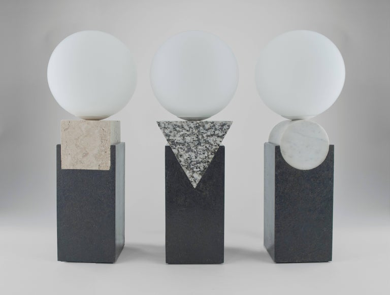 Contemporary Monument Lamp Triangle in Granite, Solid Steel and Glass For Sale 3
