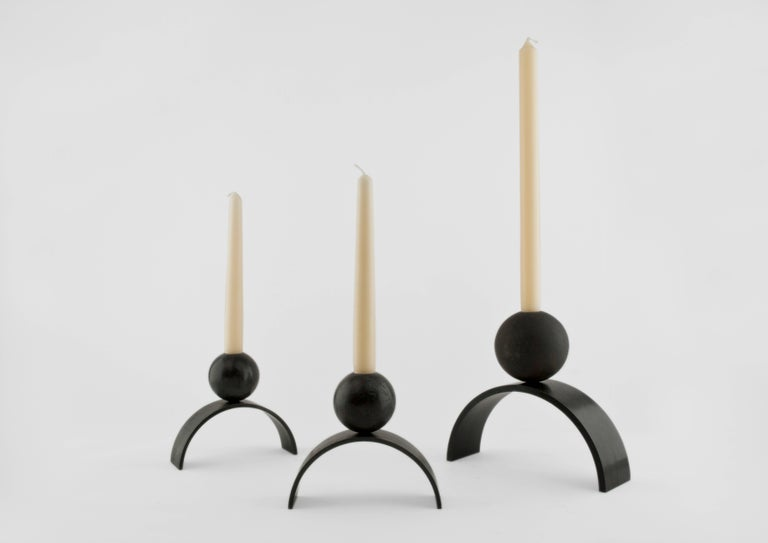 Modern Contemporary Arch and Ball, Blackened Steel Candleholder  For Sale