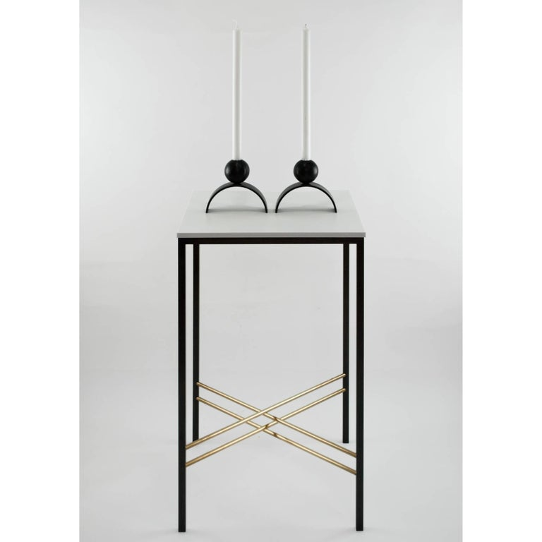 British Contemporary Arch and Ball, Blackened Steel Candleholder  For Sale
