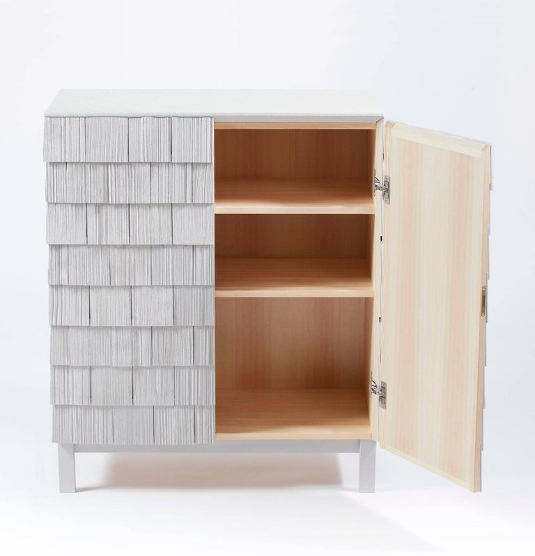 Scandinavian Style Cabinet, Shingles in Pine Wood and limestone Top, Light Grey 3