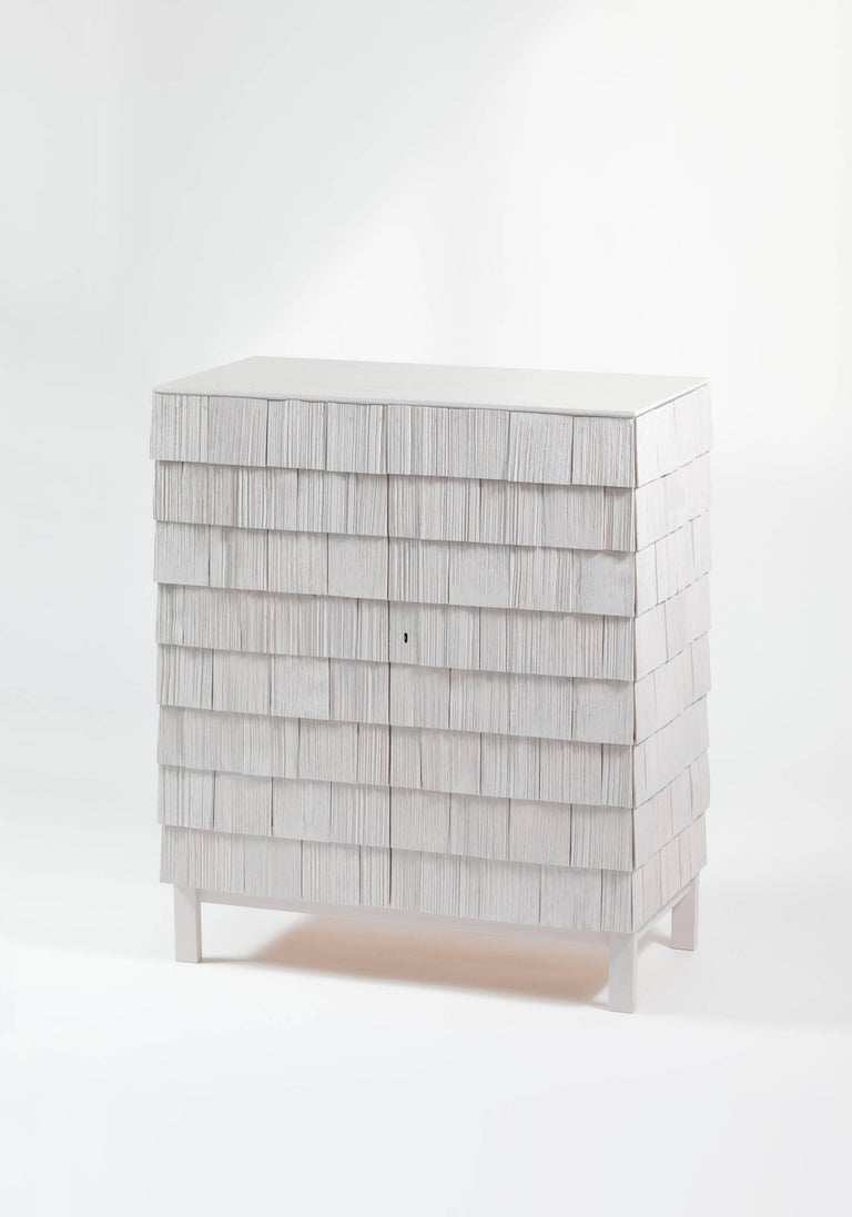 Scandinavian Style Cabinet, Shingles in Pine Wood and limestone Top, Light Grey 2