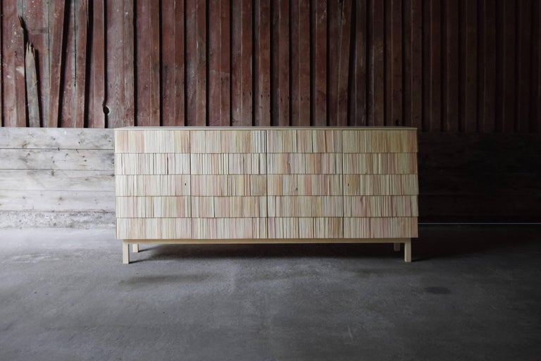 Scandinavian Style Cabinet, Shingles in Pine Wood and limestone Top, Light Grey 8