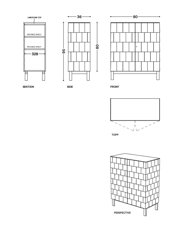 Scandinavian Style Cabinet, Shingles in Pine Wood and limestone Top, Light Grey 6