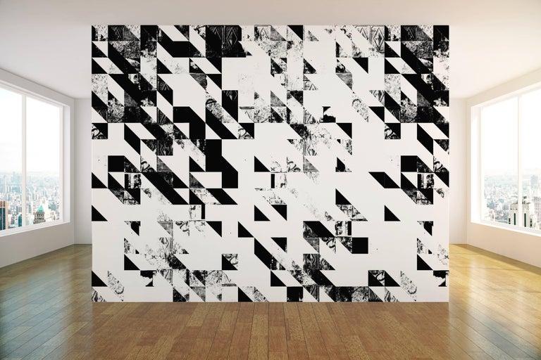 Modern Disintegration Wallpaper in Black and White For Sale