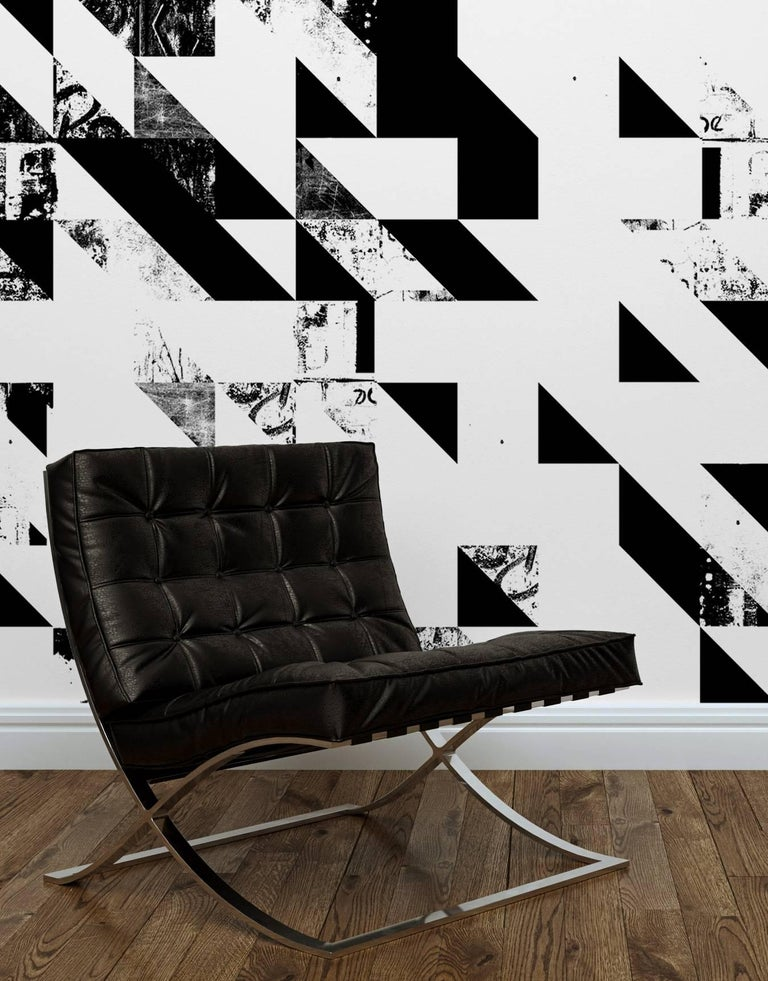 American Disintegration Wallpaper in Black and White For Sale