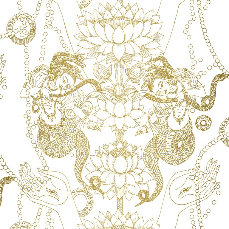 Naga Lotus Tarnished Brass Color-Way on Latex Ink on Eco-Friendly Smooth Paper