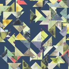 Trade Routes-Geometric Print Wallpaper in Navy Colorway, on Smooth Paper