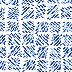 Hatched, Hand Drawn Lines in China Blue on White