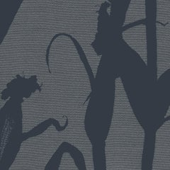 Chesterfield-Corn Silhouette Wallpaper in Navy