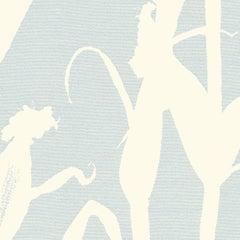 Chesterfield-Corn Silhouette Wallpaper in Sky Blue and Cream