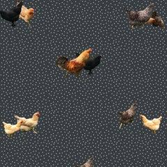 Helen's Yard Chicken Printed Wallpaper in Eclipse