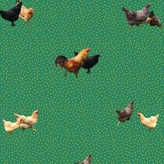 Helen's Yard Chicken Printed Wallpaper in Green