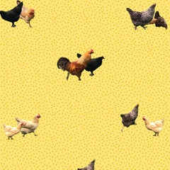 Helen's Yard-Chicken Printed Wallpaper in Yellow