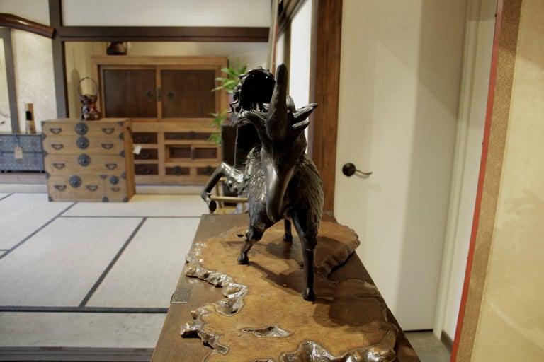 Japanese Figure of Large Standing Kirin Incensor Japan Meiji Bronze Animal Sculpture For Sale