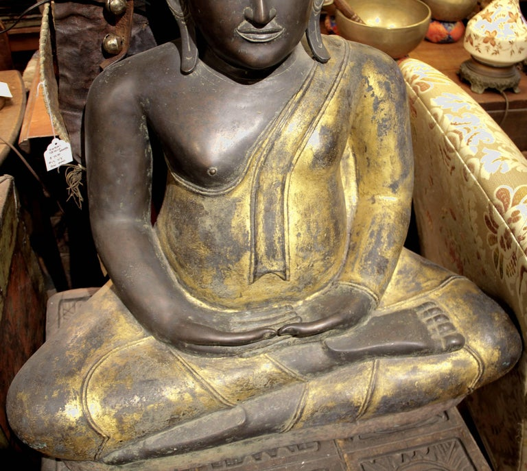 19th Century Buddha in Bronze Black Gold, Thailand For Sale