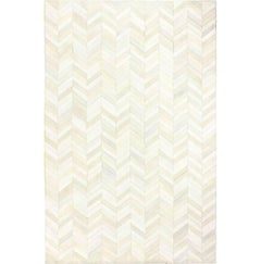 Herring Bone Cowhide Area Rug White