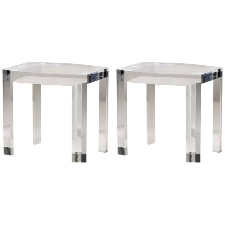 Contemporary Acrylic Side Table Solid Italian End Table Clear Lucite For Sale